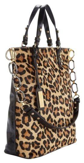 9bc41807b358 Badgley Mischka Tish Haircalf Cheetah/Black Satchel 35% off retail ...