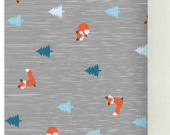 Woodland Rug, Fox Rug, Woodland Nursery Decor, Playroom Decor, Childrens Rugs, Woodland Creatures Nursery, Grey Nursery Decor, Baby Registry