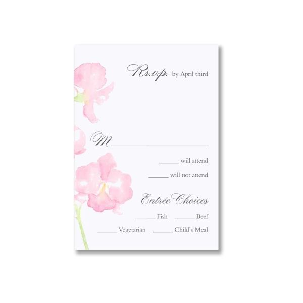 Watercolor Orchid Bright White Reply Cards  Lovely watercolor orchids, in soft pink hues, add a pop of color to this bright white reply, response or R.S.V.P. card, coordinating perfectly with your wedding invitation.  $140.00 for 100; $126.00 for 75.
