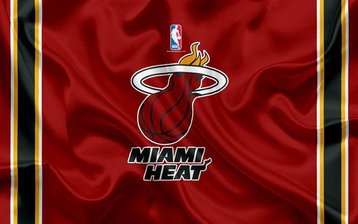 Download wallpapers Miami Heat, basketball club, NBA, emblem, logo, USA, National Basketball Association, silk flag, basketball, Miami, Florida, US basketball league, South East Division