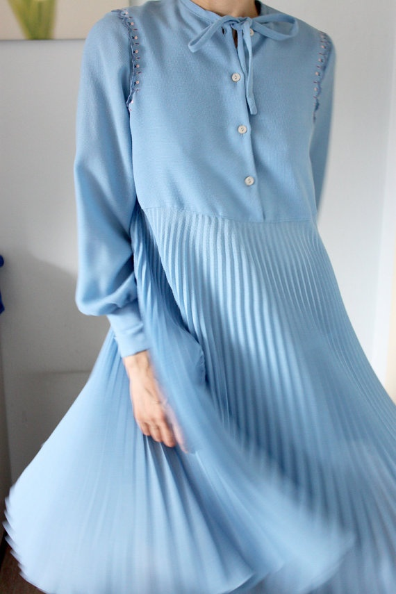 70s pleated dress  When You Say Blue by TheLifeAndTimes on Etsy, $29,00