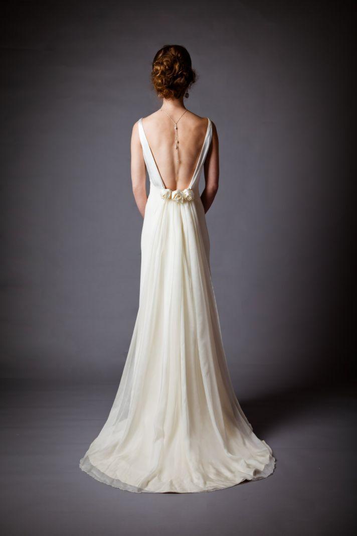 Silk charmeuse open back wedding dress fabulous fashion for Open back wedding dress