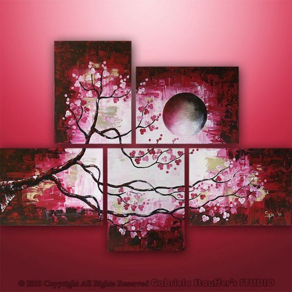 Abstract Modern Landscape Tree Asian Zen Art by Gabriela.....want to recreate this for the bedroom!