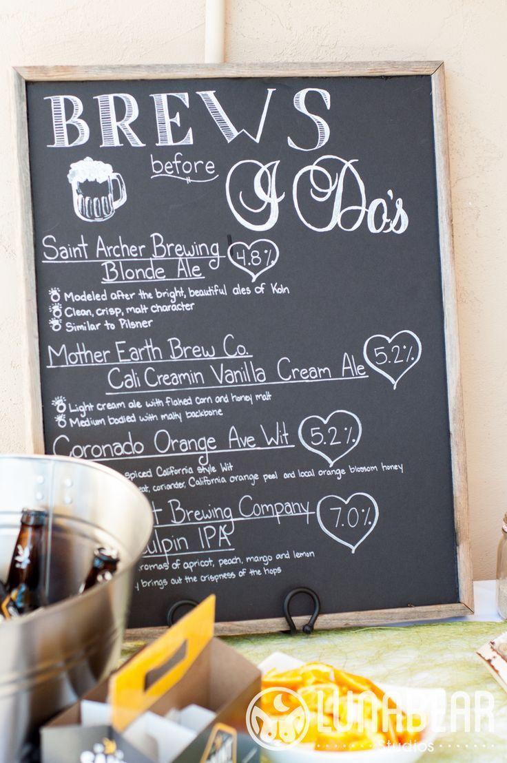 beer chalkboard sign | via Beer Tasting Couples Shower http://emmalinebride.com/shower/beer-tasting-couples-shower/