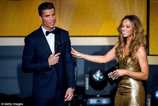 Presenter Kate Abdo on stage with with Cristiano Ronaldo at thethe FIFA Ballon d'Or Gala ...