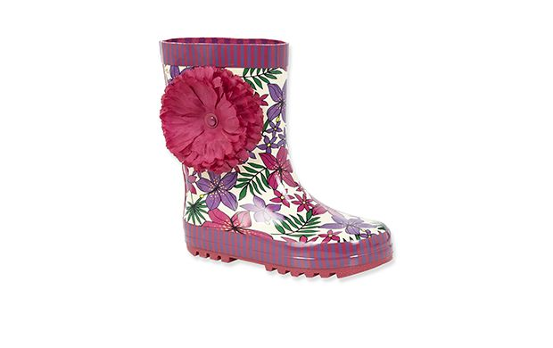 """Bright Floral Wellies. """"Little girls will love making a splash in these pretty floral print wellingtons."""""""