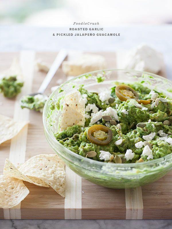 Roasted Garlic and Pickled Jalapeño Guacamole | foodiecrush.com