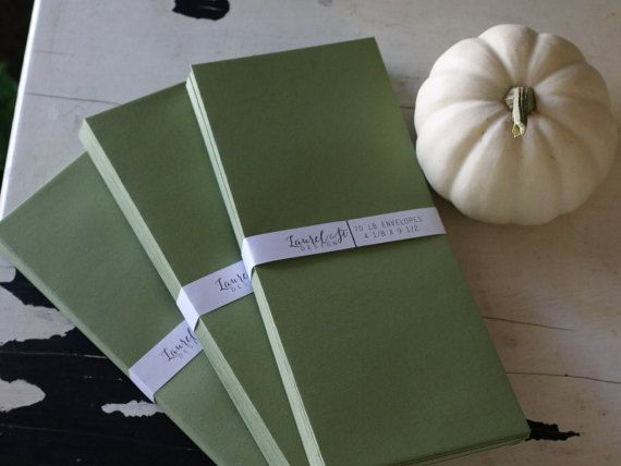 Finally, some nice Avocado Green No 10 Envelopes  Natural Green by LaurelStDesigns