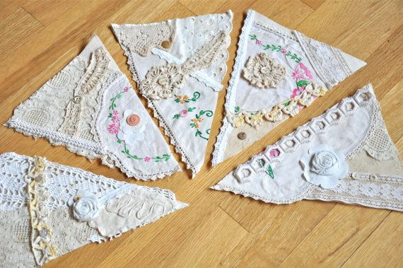 Vintage linen bunting upcycled needlework by