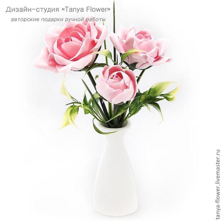 Купить Букет садовых роз (розовый) - цветы, цветы ручной работы, цветы из полимерной глины
