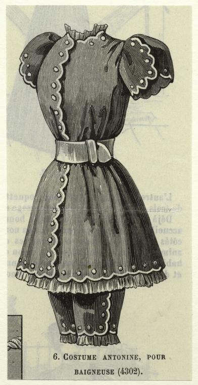 Bathing costume, 1893 From Le Moniteur de la mode : journal du grande monde.