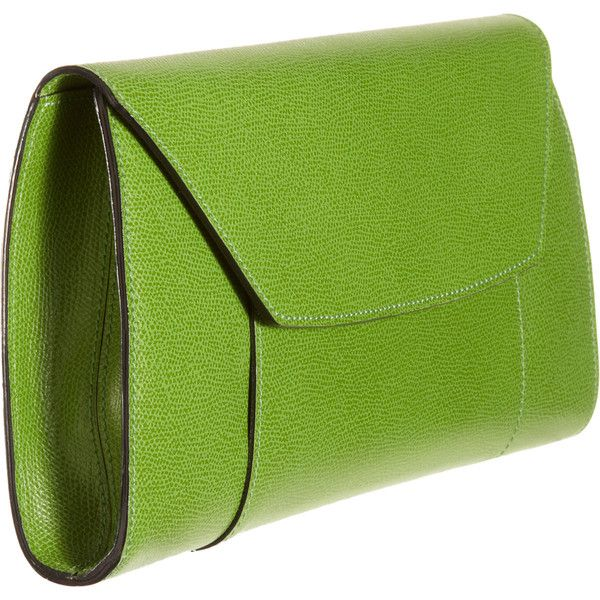 Valextra Handy Clutch ($1,150) ❤ liked on Polyvore featuring bags, handbags, clutches, purses, bolsos, handbags purses, hand bags, green purse, green handbag and green clutches