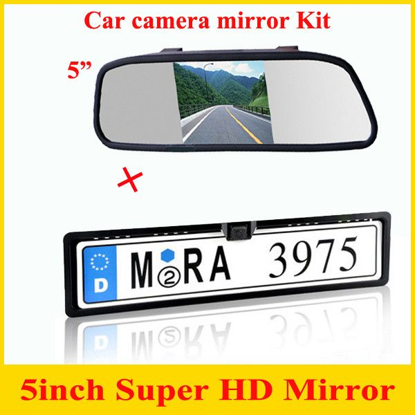 "Promotion 2 in 1 CCD European Car License rear view camera + 5"" Car Mirror Monitor, license plate frame parking camera monitor"