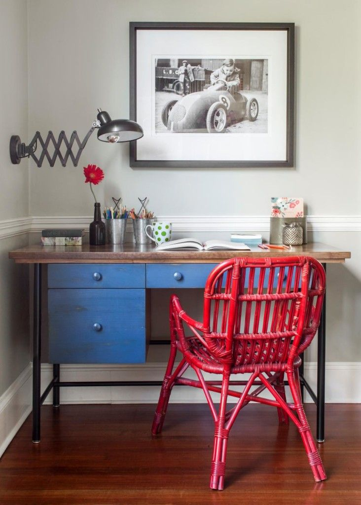 Red And Blue Rustic Home Office Design
