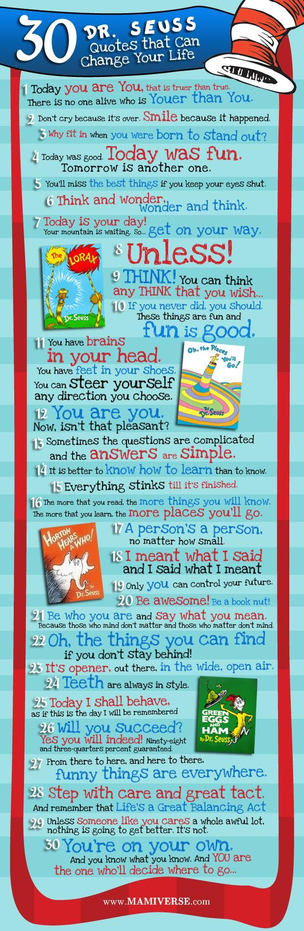 30 Dr. Seuss Quotes #infographic Do you have a favorite?: Ideas, Inspiration, Drseus, Life Lessons, Kids, Dr Suess, Seuss Quotes, Dr. Seuss, Dr. Suess