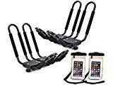 #10: TMS 2 x Roof J Rack Kayak Boat Canoe Car SUV Top Mount Carrier w/Free Cell Phone Bag