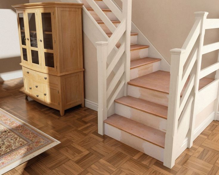 Oak Stair Tread Covers : Stair Case Design With Maple Tread Cover Plus White Railing Complete With Brown Oak Wood Cabinet On The Brown Floor Tiles And Rustic Cream Rug