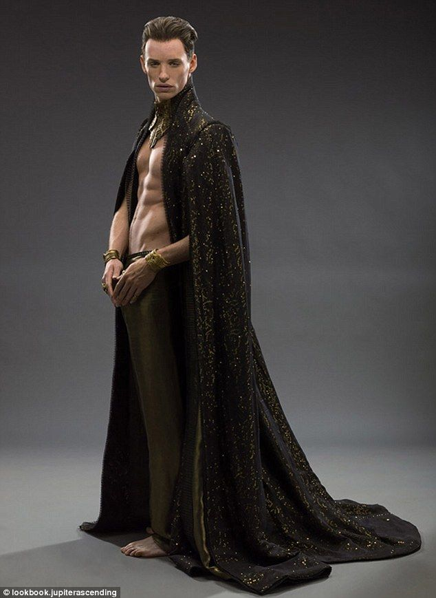 Fit: Eddie Redmayne displays his toned torso as he poses in character as Balem Abrasax in Jupiter Ascending