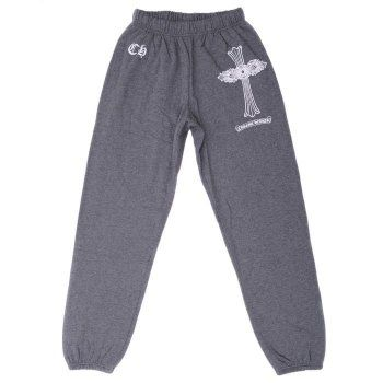 Chrome Hearts Grey Signature Cross Printed Cotton Pants Sale