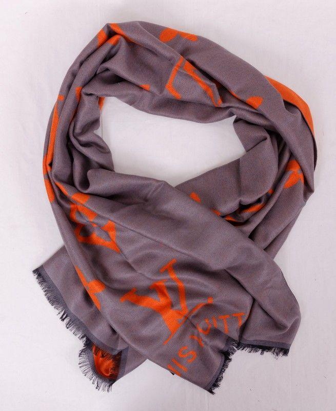 Длинный тёплый шарф Louis Vuitton (шерсть и шелк), цвет серый с оранжевым. Размер 180x65cm #19987