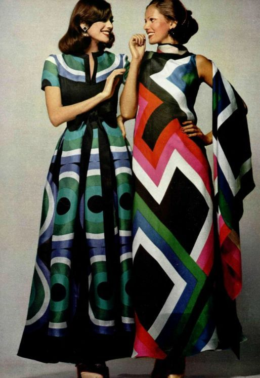 Balmain, 1972 designer couture 70s long maxi gowns dresses bold graphic print mod red blue green black