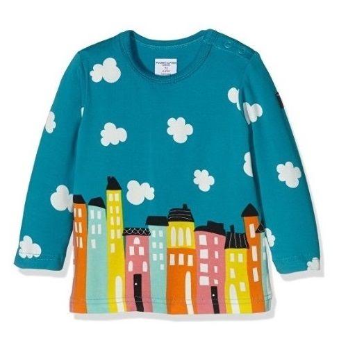 Camiseta de manga larga para bebé con original ilustración de una ciudad y cielo con nubes