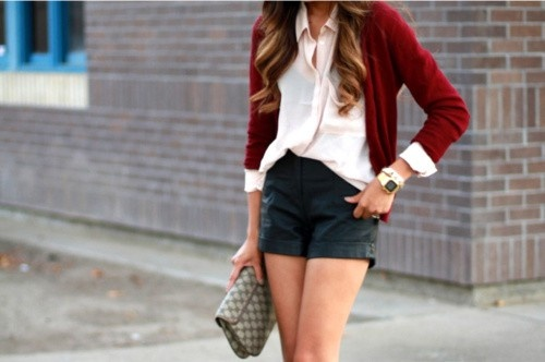: Fashion, Inspiration, Style, Clothes, Dream Closet, Outfit, Shorts, Red Cardigan, Wear