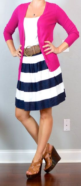 I absolutely love this!!! Pink Cardigan, White Tee, Navy Striped Skirt, Brown Belt. Minus the Pink I need a different color