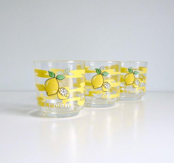 Lemon Kitchen Decor Mid Century Style Juice Glasses Lemon Yellow Summer Trends