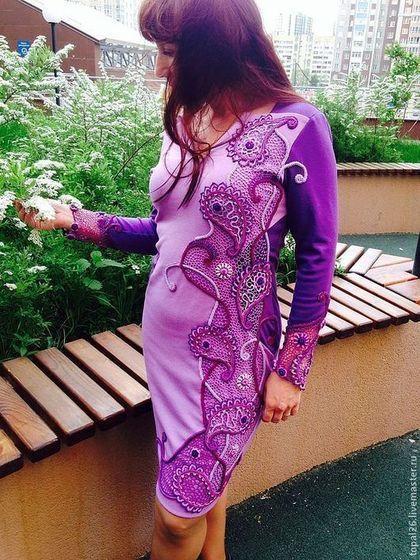 """Вставка на платье """"Сиреневые грезы"""" - пейсли,сиреневый цвет,ирландское кружево"""
