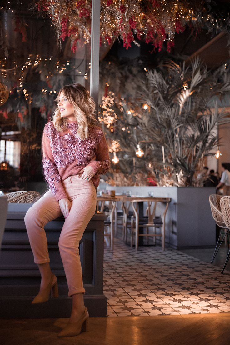 Pink knit sweater+pink corduroy pants+camel sling-back heels. Fall Casual / Casual Lunch Outfit 2017
