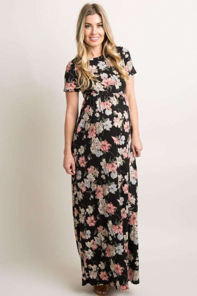 eb1534a698f Black Lace Sleeve Maternity Maxi Dress in 2019