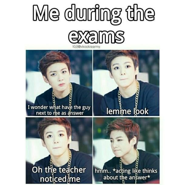 Funny Memes For Ig : Me during the exams cr vkookiearmy ig kpopmeme