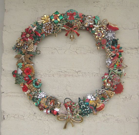 This is made from brooches of Christmas past.  Kind of cool.