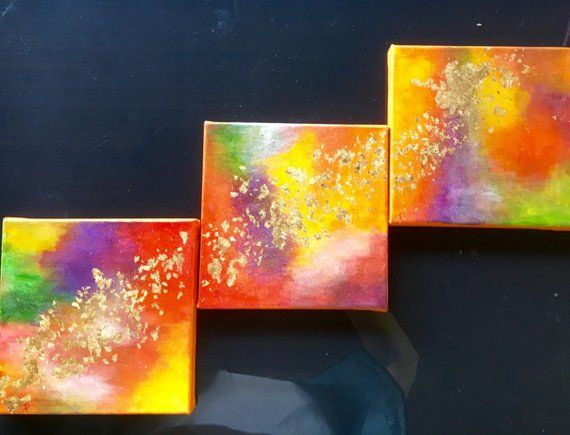 Triptyque Peinture abstraite - gold colors
