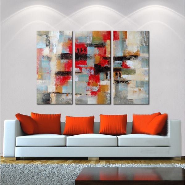 Hand painted oil abstract496 gallery wrapped canvas art set online art galleryabstract paintingsoffice