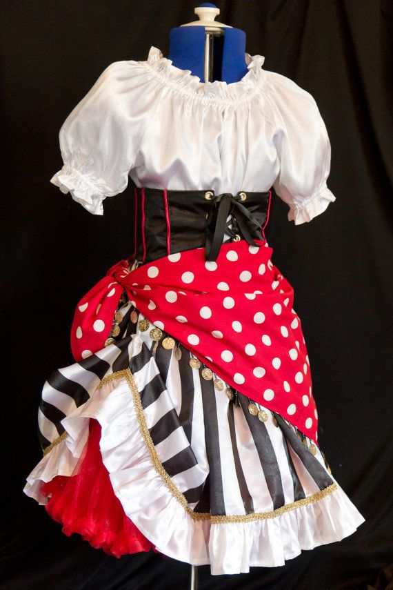 Girl's DELUXE PIRATE Costume Girls size 12/14/16 by mom2rtk