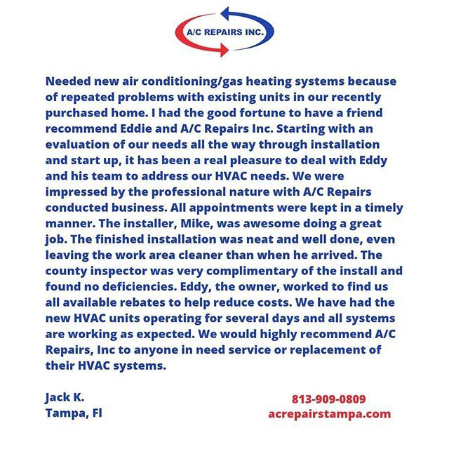 A picture is worth a thousand words but a picture of these words, priceless.    #testimonial #priceless #tampa #hillsborough #pasco #pinellas #tampabay #hvac #heating #ventilating #airconditioning