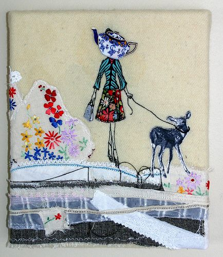 freehand machine embroidery and collage by Katherine Bertram