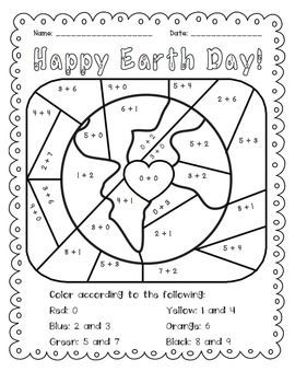 Earth Day: Add and Color Activity $1.50. Students practice basic addition facts and then color. Great for morning work or a math center.: