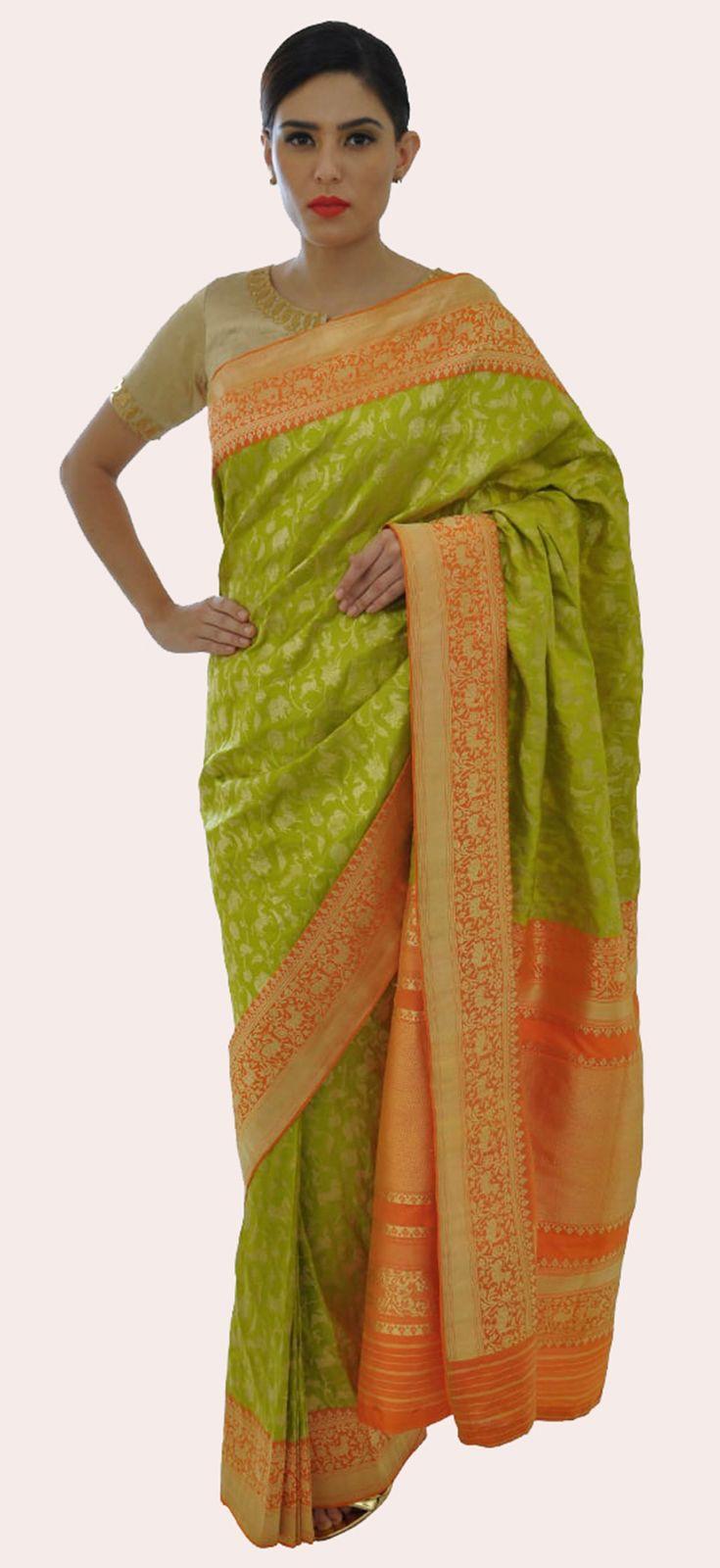 Lime Green-Burnt Orange Shikargah Zari Weave Pure Silk Saree