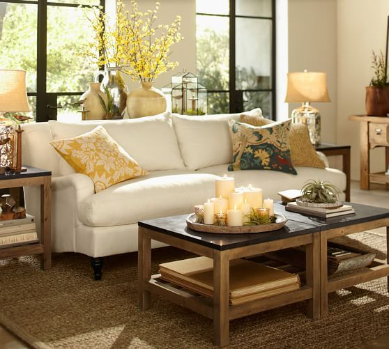 Carlisle Upholstered Grand Sofa with Bench Cushion, Down-Blend Wrapped Cushions, Twill Cadet Navy
