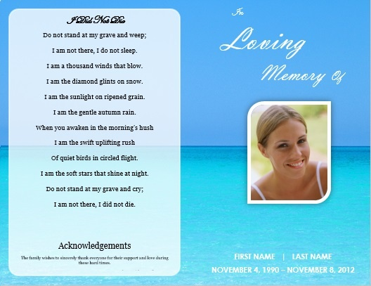 Single fold beach funeral program template for download for Memorial pamphlets free templates