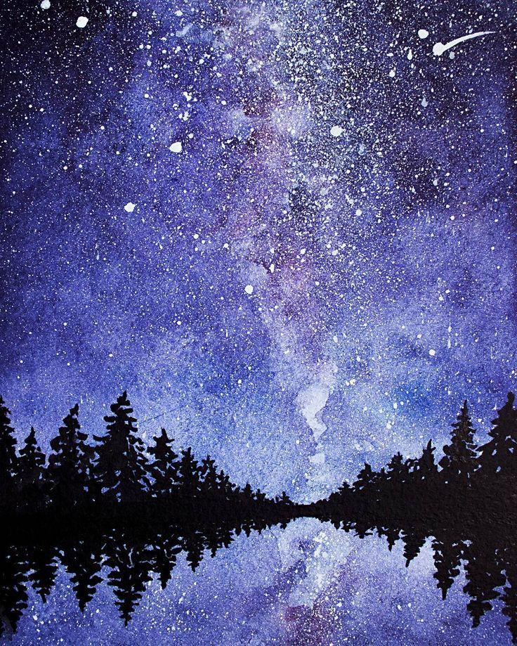 Звездное небо рисунок акварелью