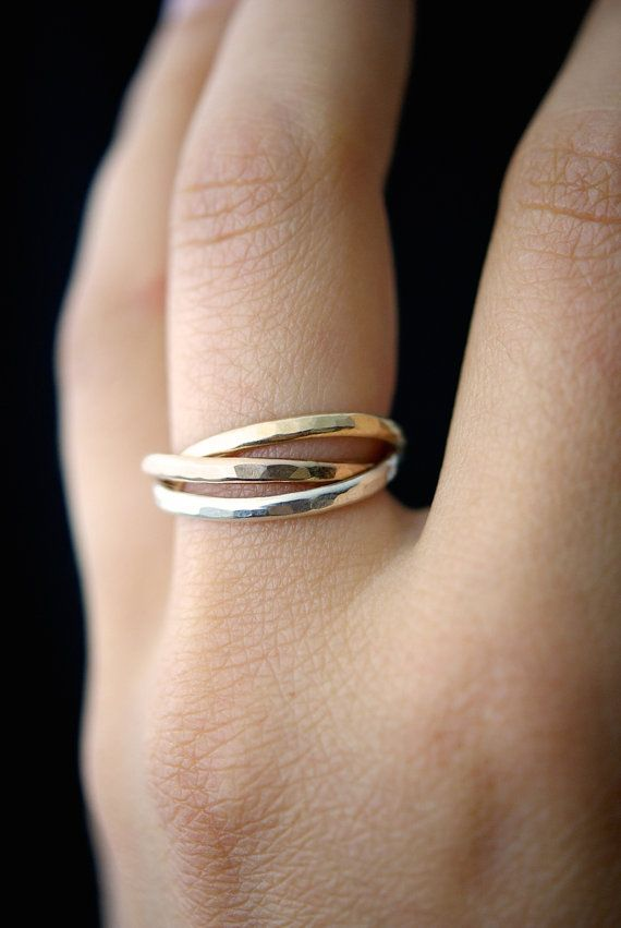 Interlocking rings Set of 3 Rose Gold Gold Silver by hannahnaomi