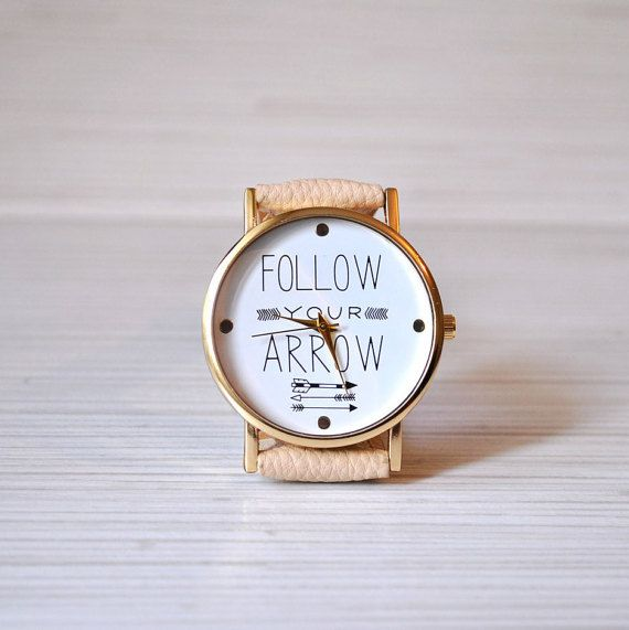 Follow your arrow watch. Quotes watch. Unique watch. by AyoBijou