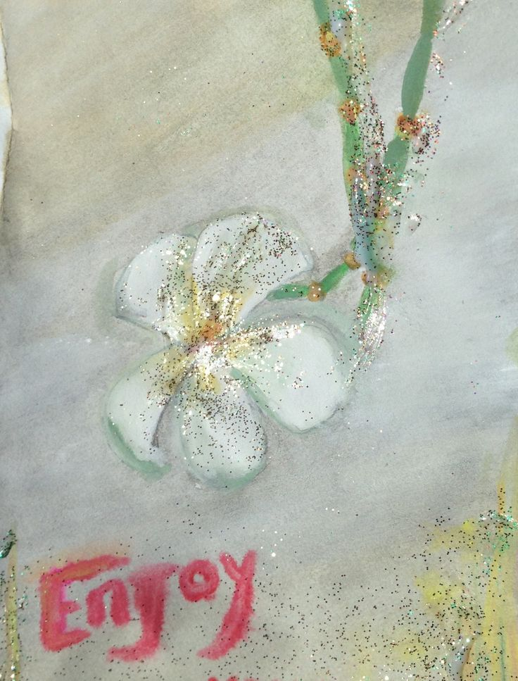 it is a card, i thought to add sparkles, when all else fails in a 1/ hour painting moment, put sparkles on it