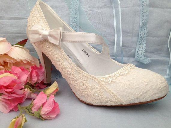 Custom wedding shoes lace vintage by Laceandloveshoes on Etsy, £145.00