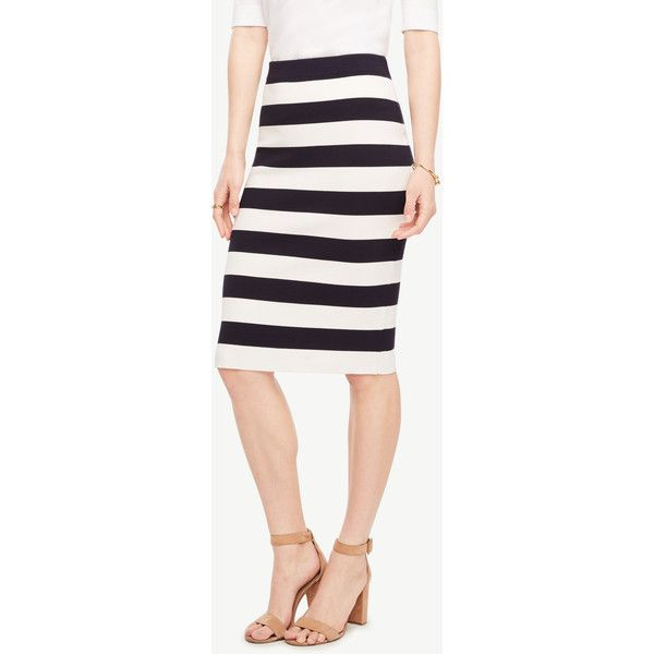 Ann Taylor Petite Striped Sweater Pencil Skirt ($89) ❤ liked on Polyvore featuring skirts, navy blue, petite skirts, navy blue skirt, white skirt, ann taylor skirts and white pencil skirt