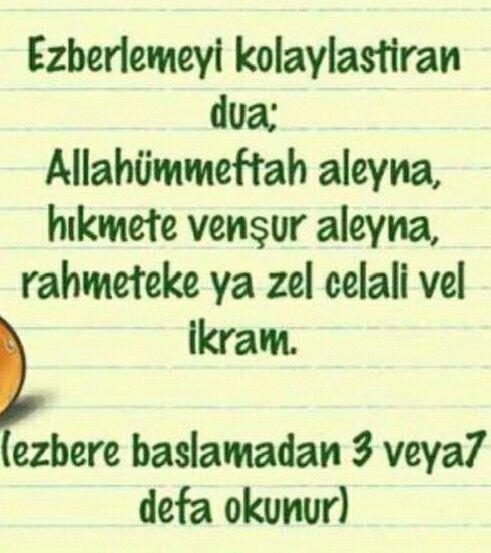 Ezberlemeyi kolaylaştıracak dua. #dua #ezber #egitim #sağlık
